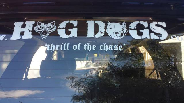 Hog Dogs txt - thrill of the chase sticker 40 x 11